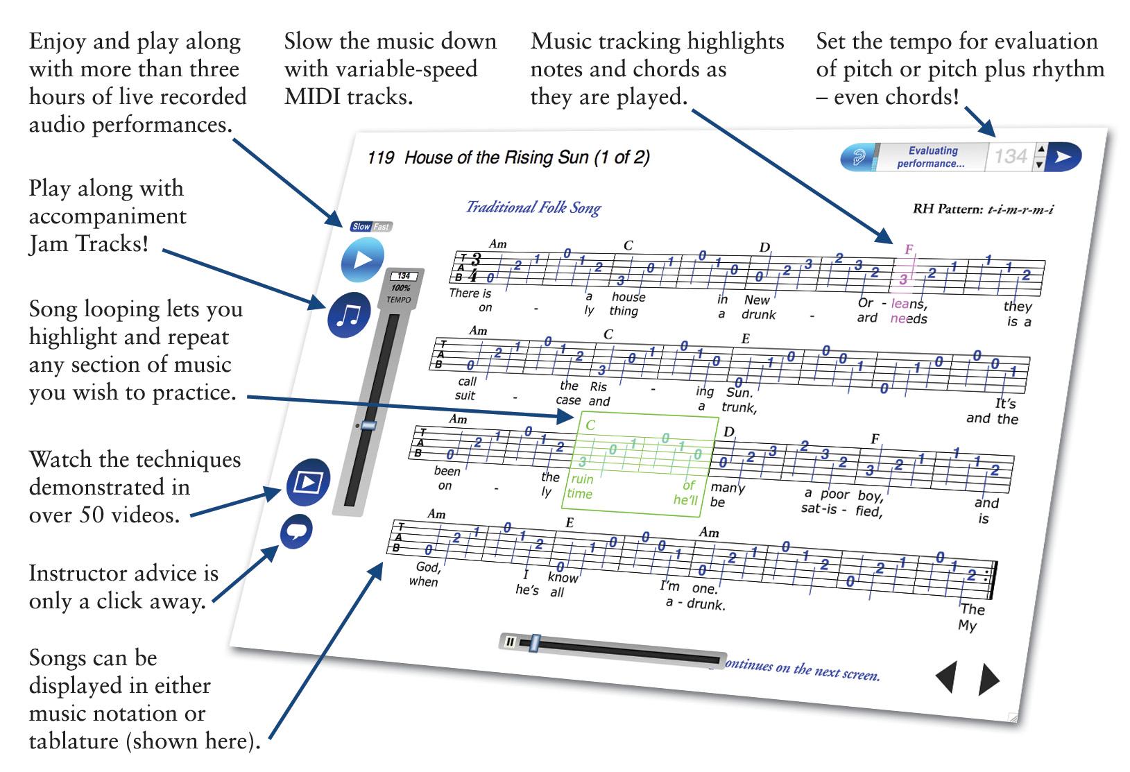 Emedia guitar method deluxe instructional software bundle hr.